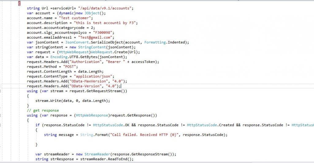 Microsoft Dynamics Curd operation