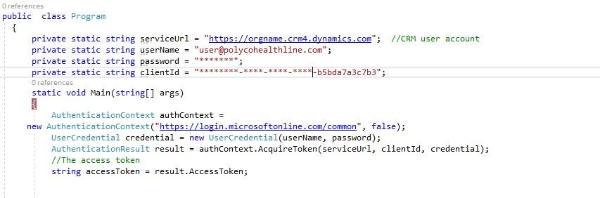Microsoft dynamics access token